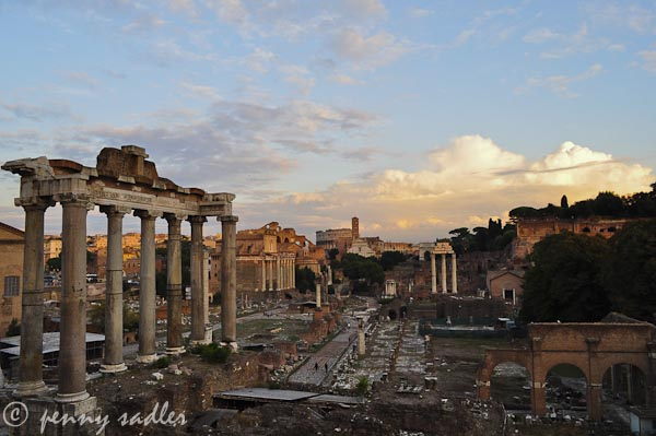 the roman forum at sunset from Adventures of a Carry-on