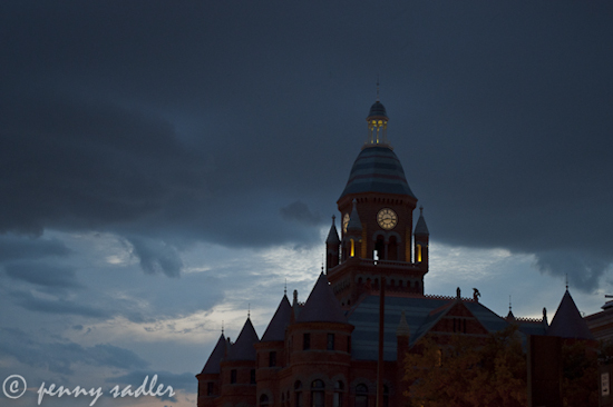 The Old Red Courthouse Museum at dusk, Dallas, Texas