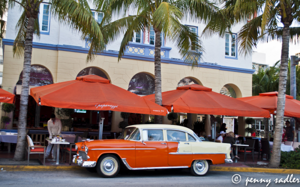 orange vintage car on South Beac, Miami, Florida, Chevrolet Bel Aire