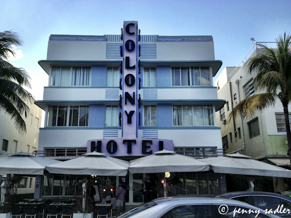 Art Deco architecture, south beach, colony hotel