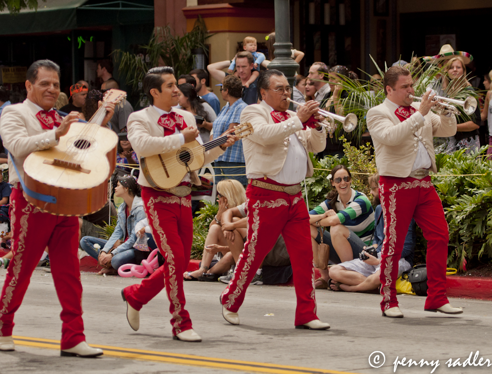 Musicians in traditional costumes at Old Spanish Days parade, Santa Barbara, @PennySadler 2013