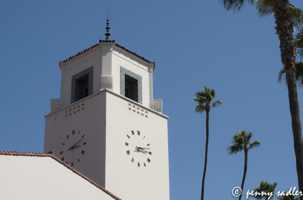 clock tower and Palm trees union station Los Angeles