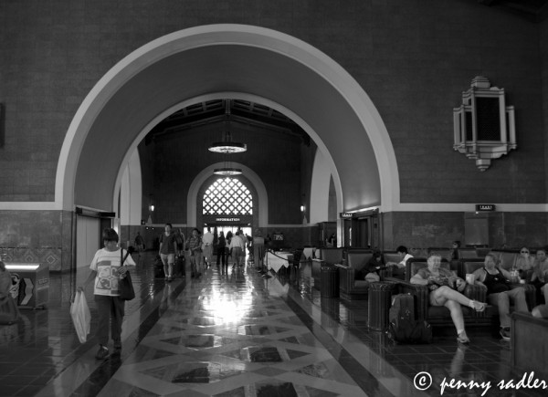 Passengers waiting at Union Station Los Angeles