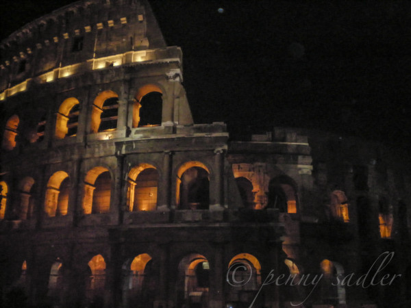 The Colosseum at night Rome @PennySadler 2013