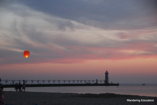 thai lantern over lake michigan @wanderingeducators.com