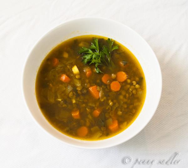 Bowl of garlic lentil soup @PennySadler 2013