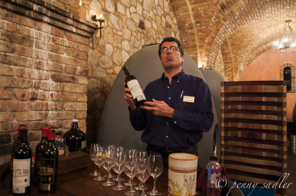 Guide at a wine tasting Castello Di Amorosa
