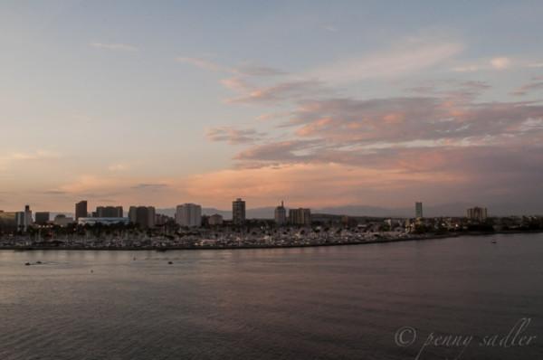 Long Beach Harbor at sunset