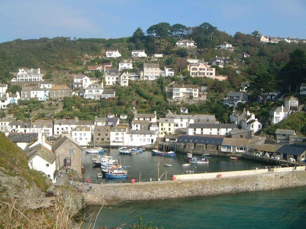 Houses and boats in the harbor at Polperro, from Cornwall land of legends beaches smugglers