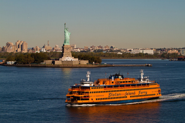 Staten Island Ferry with Statue of Liberty in background