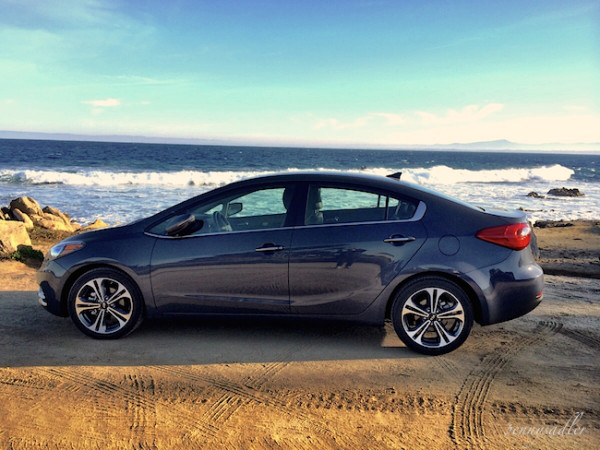 Kia Forte on the beach from Ultimate California Road trip