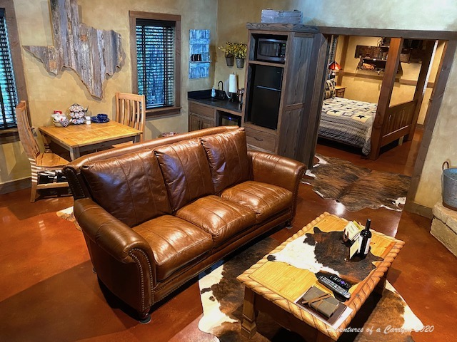 Leather sofa and rustic decor at Cotton Gin Village Fredericksburg, Texas, from 36 Hours in Fredericksburg, texas