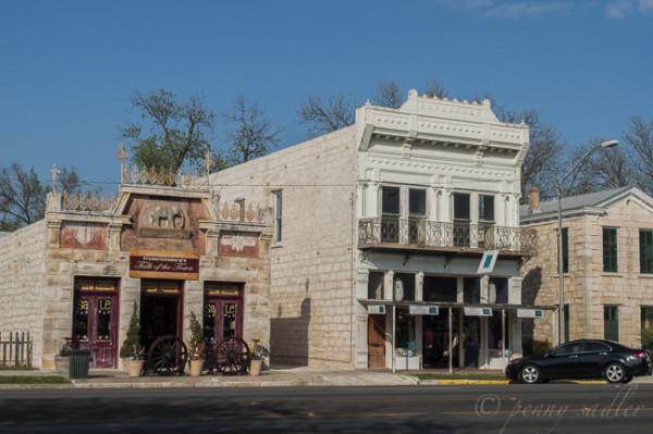 historic Main Street Limestone buildings Fredericksburg Texas