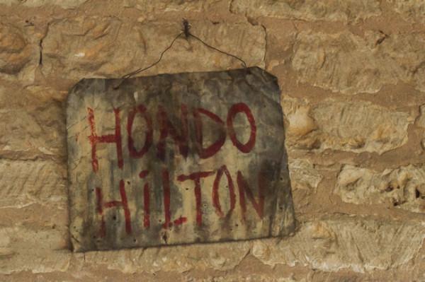 Sign at the Hondo Hilton, Fredericksburg, Texas