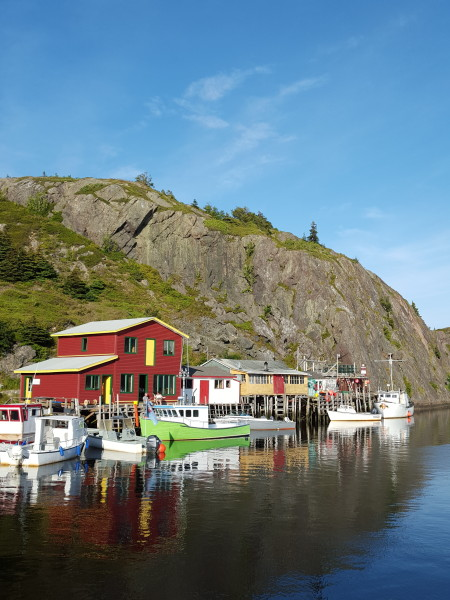 Colorful reflections at Quidi Vidi, a restored historic fishing village in St. John's, Newfoundland