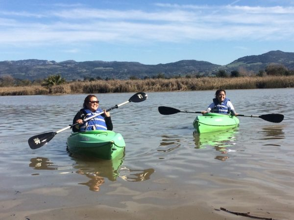 Kayaking the Napa River to explore downtown Napa