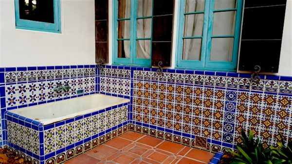 The Adamson House in Malibu, CA, tiled bath tub