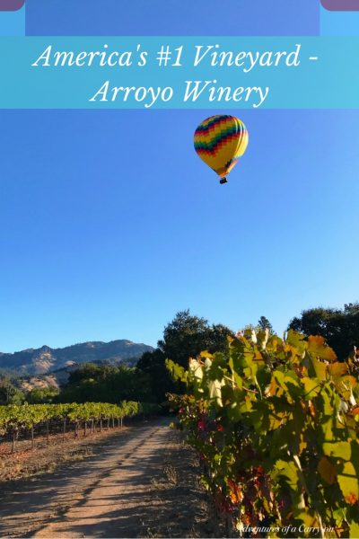 Hot air balloon above arroyo winery