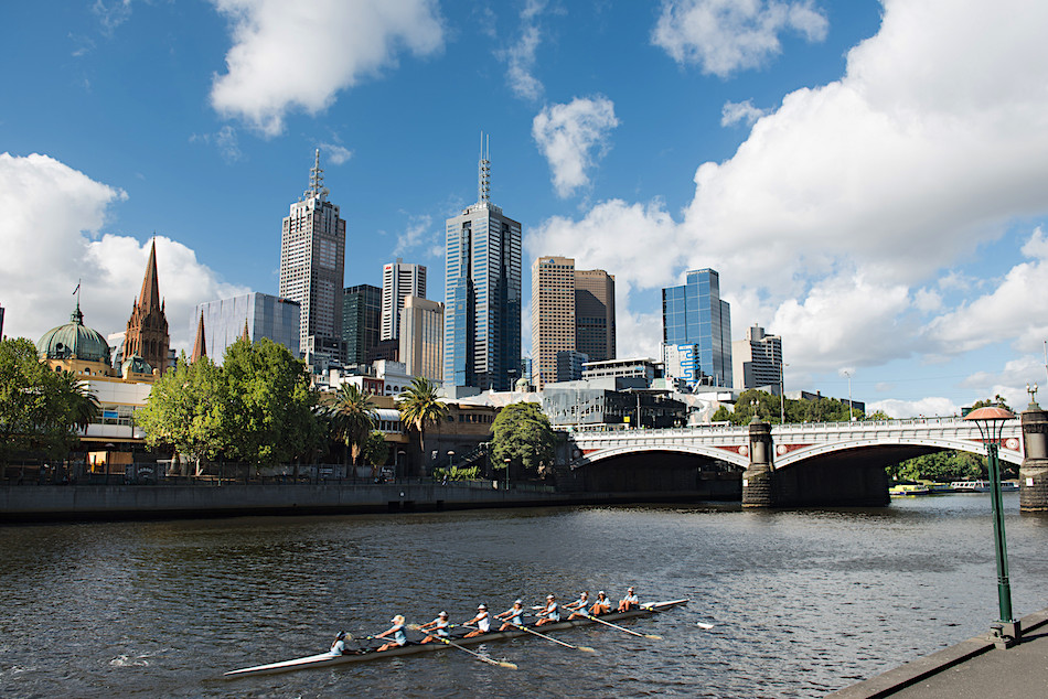 rowing on the Yarra River from Vineyards and Beaches winetasting around Melbourne, AU