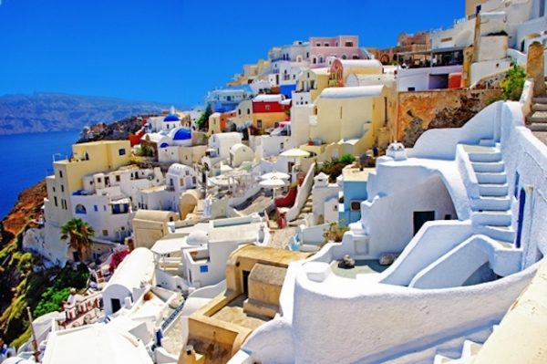 Santorini white washed houses, from wine tasting in the greek islands