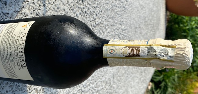 DOCG label on a bottle of prosecco superiore