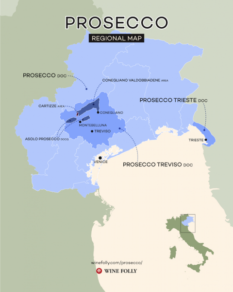 map of the prosecco regions of Italy