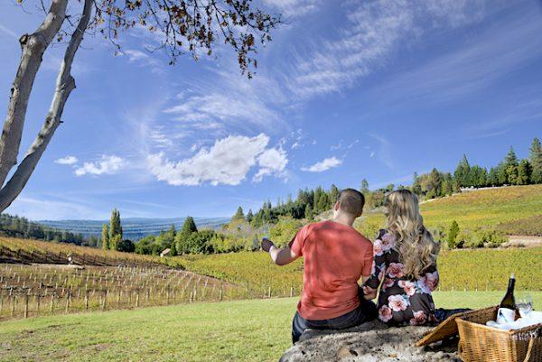 Lava Cap outdoor two people wine tasting